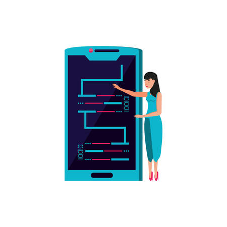 woman and smartphone with code binary vector illustration design Ilustração