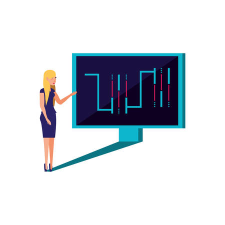 computer monitor with young woman vector illustration design