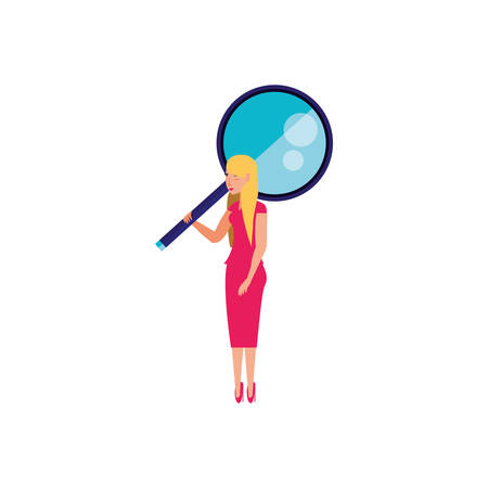search magnifying glass with young woman vector illustration design