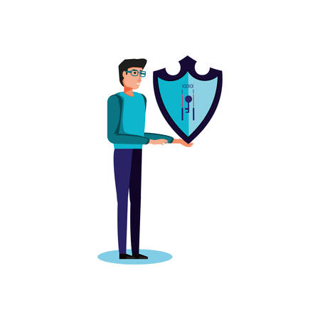 shield secure with young man vector illustration design