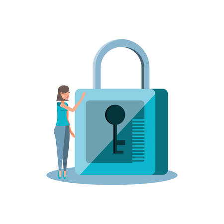 woman with safe secure padlock icon vector illustration design