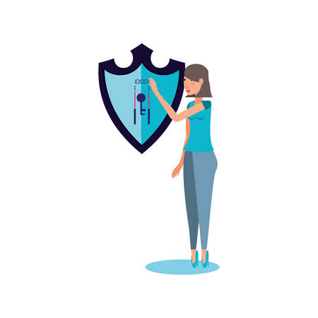 woman with shield secure isolated icon vector illustration design