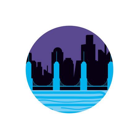 buildings cityscape night scene and bridge vector illustration design Illustration