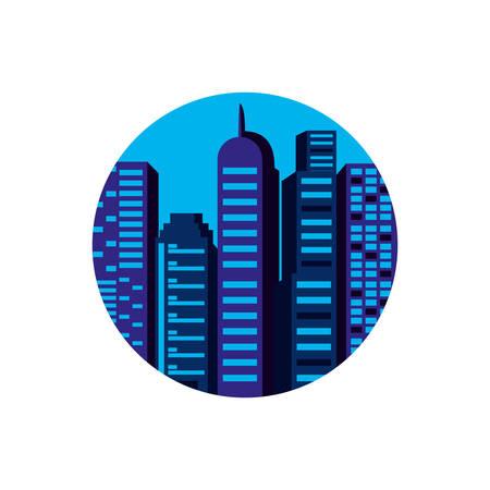 buildings cityscape day scene in frame circular vector illustration design Illustration