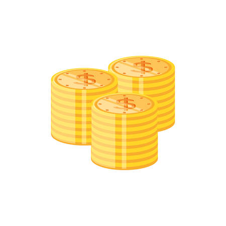 pile of coins dollar isolated icon vector illustration design