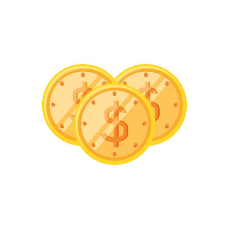 coins dollar isolated icon vector illustration design