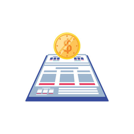 documents paper with coin isolated icon vector illustration design