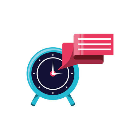 alarm clock with speech bubble isolated icon vector illustration design 向量圖像