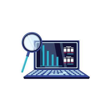 search magnifying glass with laptop computer vector illustration design