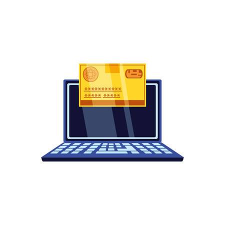 credit card money with laptop computer vector illustration design Çizim