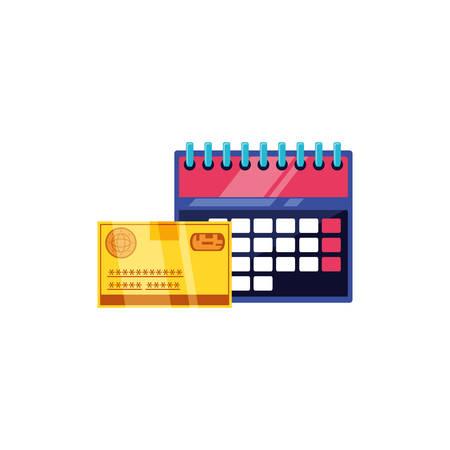 credit card money with calendar reminder vector illustration design