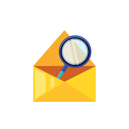 search magnifying glass in envelope mail vector illustration design
