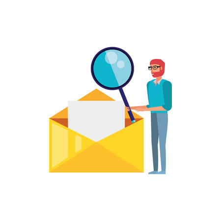 man with search magnifying glass in envelope mail vector illustration design Illustration