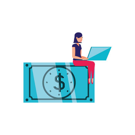 bill dollar money and woman with laptop vector illustration design Illustration