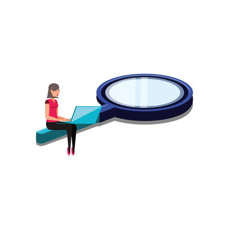 woman with search magnifying glass and laptop vector illustration design
