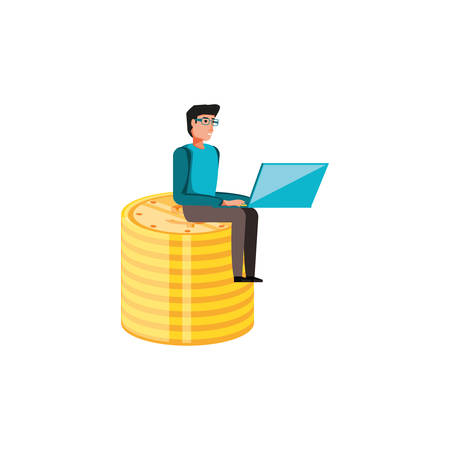 man with pile coins dollar isolated icon vector illustration design