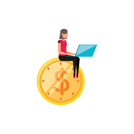 woman with coin dollar isolated icon vector illustration design Illustration