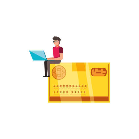 credit card money with man vector illustration design Çizim