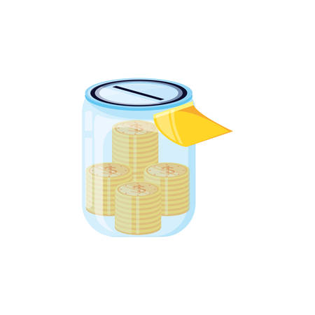 saving jar with money coins vector illustration design Illustration