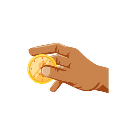hand with coin dollar isolated icon vector illustration design Illustration