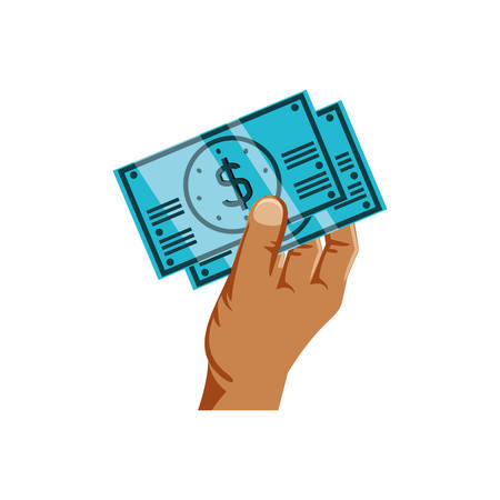 hand with bills dollar money isolated icon vector illustration design Illustration