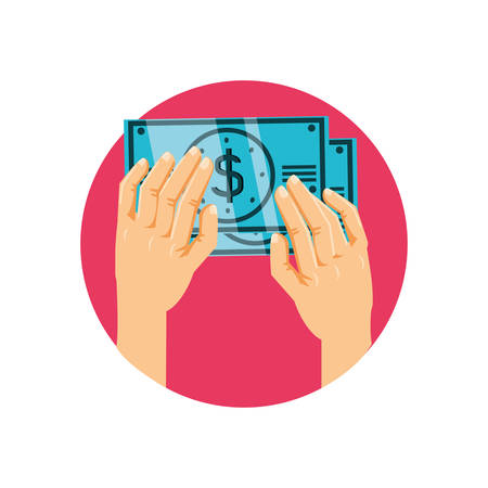 hands with bills dollar money isolated icon vector illustration design