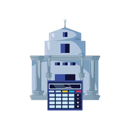 bank building with calculator math vector illustration design