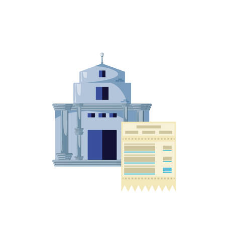 bank building with voucher isolated icon vector illustration design