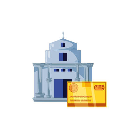 bank building with credit card isolated icon vector illustration design