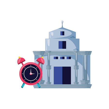 bank building with clock alarm isolated icon vector illustration design