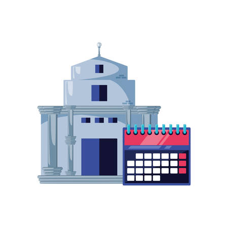 bank building with calendar reminder isolated icon vector illustration design