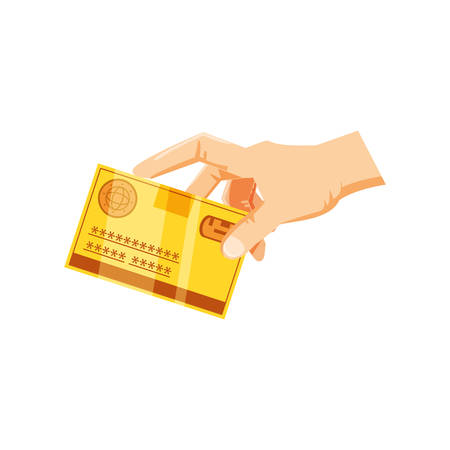 hand with credit card money isolated icon vector illustration design