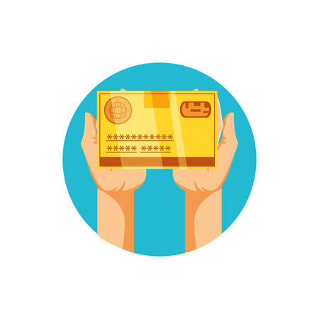 hands with credit card money isolated icon vector illustration design