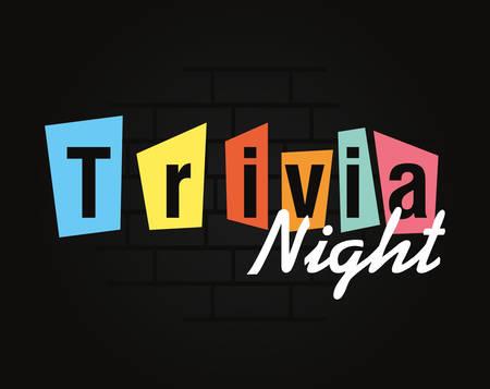 Trivia-Nacht-Schriftzug auf dunklem Hintergrund-Vektor-Illustration Vektorgrafik