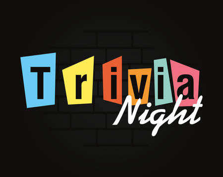 trivia night lettering on dark background vector illustration
