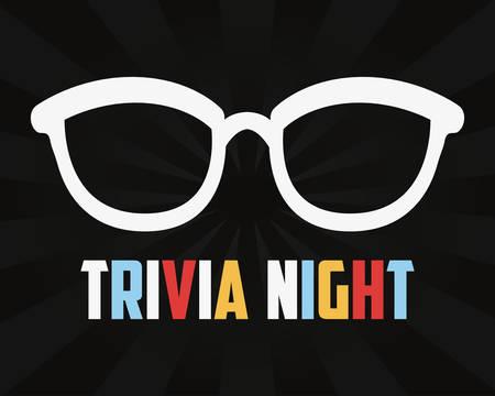 trivia night eyeglasses black background vector illustration