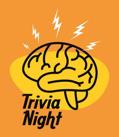 trivia night brain creativity idea vector illustration Illustration