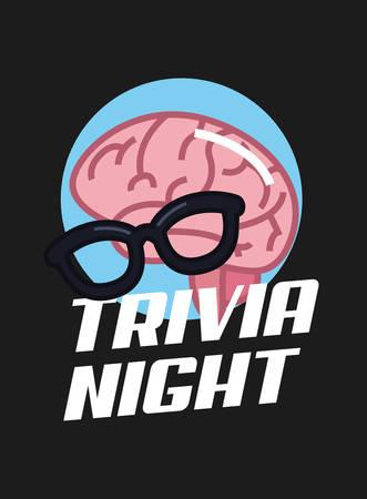 trivia night brain eyeglasses lettering  vector illustration Illustration