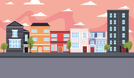 city urban buildings exterior street vector illustration Stock Vector - 124675438