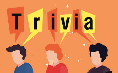 trivia night people think lettering poster vector illustration