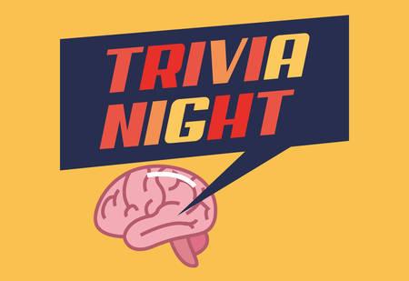 trivia night brain creativity lettering  vector illustration Banque d'images - 118412108