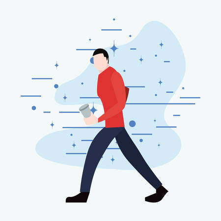 man walking with disposable cup activity vector illustration 写真素材 - 124675452