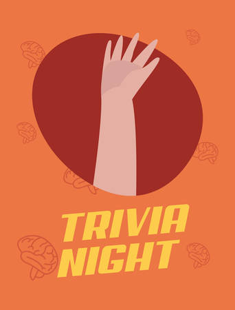 trivia night hand up brains background vector illustration