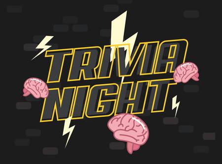 trivia night brain creativity genius vector illustration Illustration