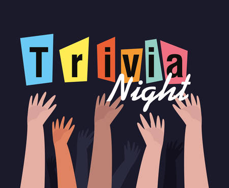 raised hands people lettering trivia night vector illustration
