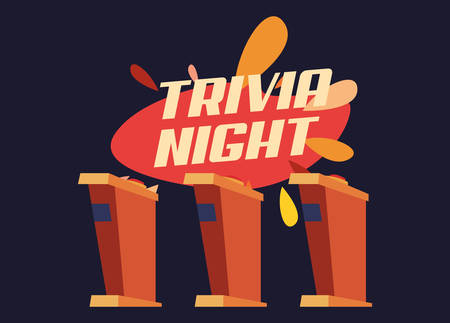 trivia night stand game button vector illustration Vector Illustration