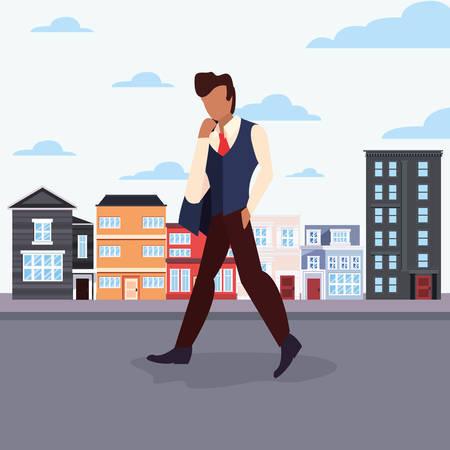 man walking in the city street activity vector illustration