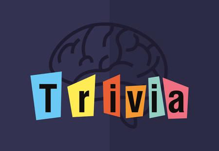 trivia night brain creativity lettering  vector illustration