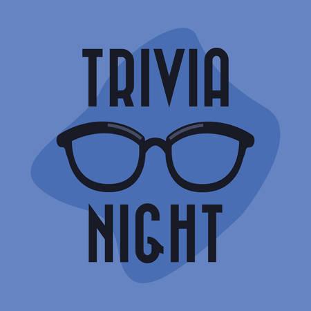 trivia night eyeglasses nerd lettering  vector illustration Çizim