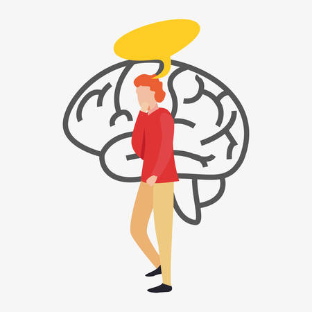 trivia night man thinking brain vector illustration